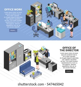 Two horizontal workplace banners set with isometric office furniture machinery editable text and read more button vector illustration