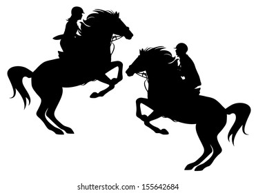 two horsemen detailed black vector silhouettes over white - man and woman