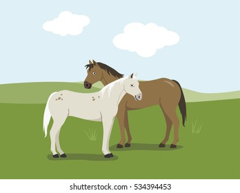 Two horses with green meadows and blue sky in background - cartoon vector illustration