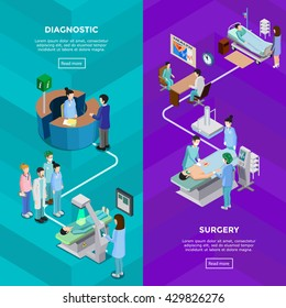 Two hospital vertical banners with functional tomography equipment and surgery operation with patient surgeons and assistants flat vector illustration