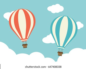 Two Hot Air Balloon with Cloud vector