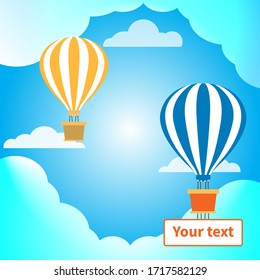 Two hot air balloons with baskets. Banner for text. Great design for any purposes. Clouds and blue sky. Natural background. Vector holiday style. Business or travel concept. Holiday decoration. EPS10