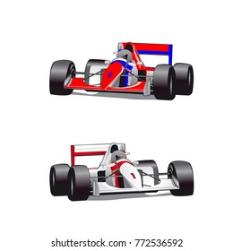 Two Hound Cars Formula Cartoon On White Background Vector