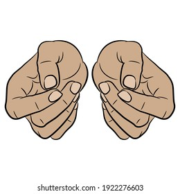 Two human hands clenched in relaxed fists. Front view. Cartoon style.