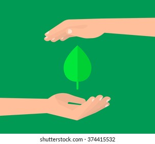 Two human hands holding a green leaf. Nature, organic, ecology concept. Isolated vector illustration flat design.