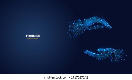 Two human hands holding or hugging something in dark blue. Abstract vector 3d arm, palm wireframe looks like starry sky. Hand gesture concept. Digital low poly mesh with dots, lines and shapes