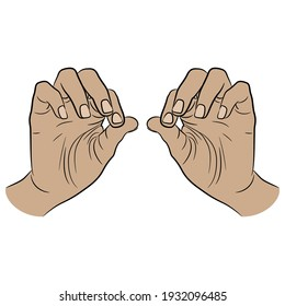 Two human hands in pinch gesture. Palms with bent fingers. Cartoon style.