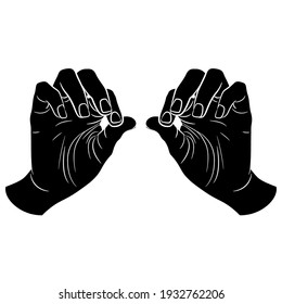 Two human hands in pinch gesture. Palms with bent fingers. Black and white silhouette. Cartoon style.