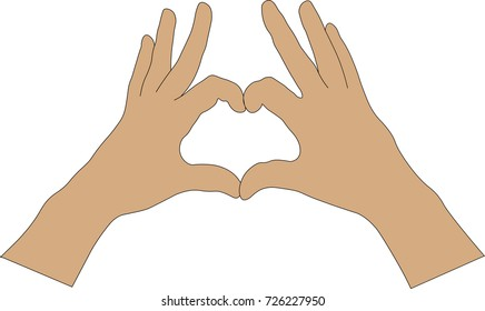 two human hands show symbol in the form of heart folded fingers, vector illustration isolated on white background