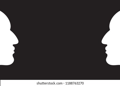 Two human head profiles sketches silhouettes opposing each other in strong contrast to simple dark black background. Concept for duality, opposites, ambiguity in human thinking. Vector illustration.