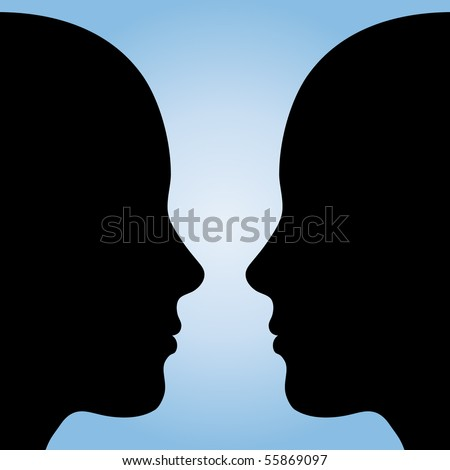 Two human heads or Vase?