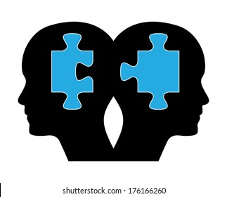 Two human heads with blue puzzles. Creative brainstorm design concept.