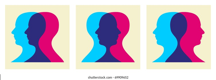 Two human heads interacting illustration. Vector file available.
