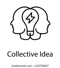 Two human heads with a light bulb, collective idea line icon design
