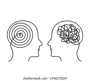 Zwei menschliche Köpfe mit gegenteiligem Denken. das Konzept von Chaos und Ordnung in Gedanken. flache Vektorgrafik der linearen Dauerzeichnung in einer Zeile