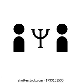 two human icons and a psychology sign between them. two silhouettes and latin psi sign. black vector graphics