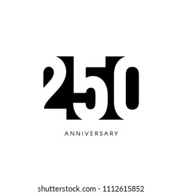 Two hundred fifty anniversary, minimalistic logo. Two handred fiftieth years, 250th jubilee, greeting card. Birthday invitation. 250 year sign. Black negative space vector illustration.