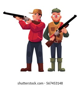 Two hunters, one in vest holding rifle, another aiming with a gun, cartoon vector illustration isolated on white background. Full length portrait of two hunters, hunting season concept