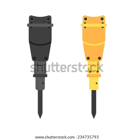 two hydraulic hammers in different colors. concept of construction machinery and lease of the special equipment. isolated on white background. flat style trendy modern vector illustration