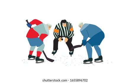 Two ice hockey players going for the puck. Referee holding a puck in face off position. Male cartoon characters hand drawn vector isolated illustration.