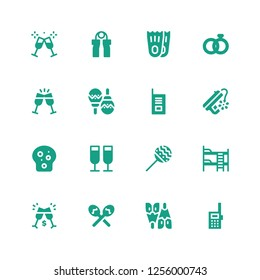 two icon set. Collection of 16 filled two icons included Walkie talkie, Flipper, Maracas, Toast, Bunk bed, Peace, Wedding rings, Flippers, Grip