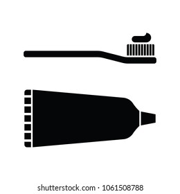 Two icons including a tooth brush and a tube of tooth paste in vector format.