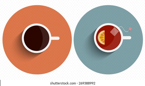 Two icons stylized cup tea and coffee with long shadow. Vector set
