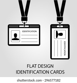 two identification card with a photo, pass in the flat style