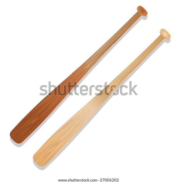 Two illustrated baseball bats with shadow and wood grain