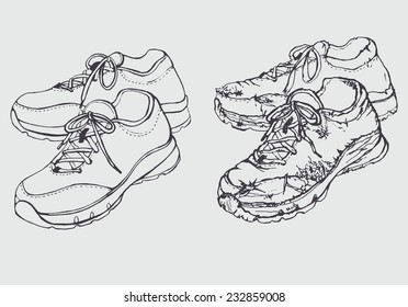 Two images of a pair of training shoes in the style of an outline/New and Old Training Shoes