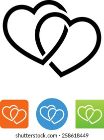 Two intertwined hearts icon