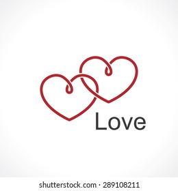 two intertwined hearts. symbol of love