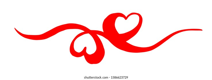 Two intertwined Hearts for Valentine's Day, hand painted with brush and ink, isolated on white background. Vector illustration.