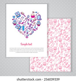 Two invitation card design with makeup illustration background. Vector design template for card, letter, banner, menu. Fashion cosmetics pattern under mask.