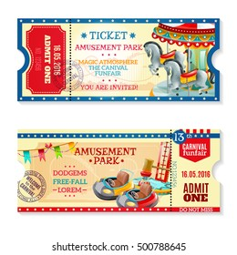 Two invitation tickets to carnival in amusement park with date of event and funfair decorative elements flat vector illustration