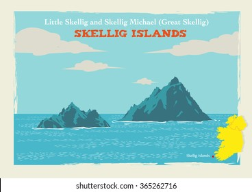 Two Islands called Skellig Michael or Great Skellig and Little Skellig in Country Kerry, Ireland. Editable Clip Art.