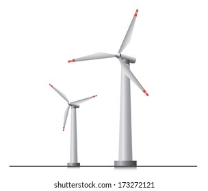 Two isolated wind turbines.