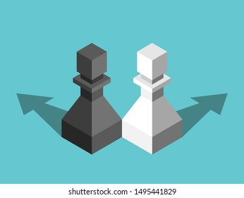 Two isometric black, white chess pawns, opposite directions arrows. Repulsion, conflict, team, family, relationship and discord concept. EPS 8 vector illustration, no transparency, no gradients
