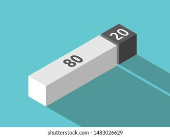 Two isometric blocks, white and black. Pareto principle, 80/20 rule, law of the vital few or principle of factor sparsity concept. Flat design. EPS 8 vector illustration, no transparency, no gradients