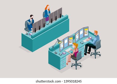Two Isometric flat desk for multiple sitting workers. Each employee uses three monitors. Front and back view. Vector illustration concept.
