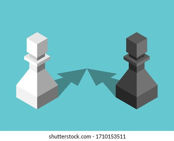 Two isometric opposite pawns with arrow shaped shadows approaching to each other. Attraction, relationship, communication concept. Flat design. EPS 8 vector illustration, no transparency, no gradients