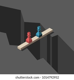 Two isometric pawns (red and blue) standing on narrow bridge above great gap. Conflict, cooperation and negotiations concept. Flat design. Vector illustration, no transparency, no gradients