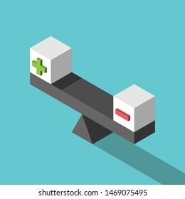 Two isometric white cubes with green plus and red minus signs on weight scale. Balance, positive, negative, pros and cons concept. Flat design. Eps 8 vector illustration, no transparency, no gradients