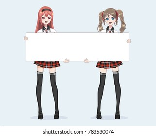 Two Japanese Asian woman hold a white billboard in hands and smiling.Full-length Isolated portrait. Cartoon anime manga schoolgirl character. White paper mockup