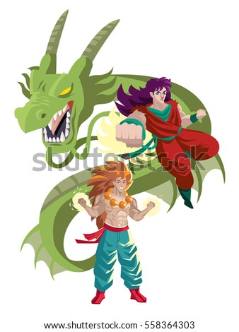 Two Japanese Martial Arts Anime Heroes Stock Vector Royalty Free
