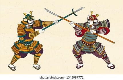 Two Japanese samurai in amour fighting through sword