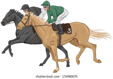 Two jockeys on their racehorses