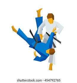 Two judo fighters in traditional blue and white colors. Martial arts competition - sambo, judo, karate, jiu jitsu, wrestling. Flat vector clip art.