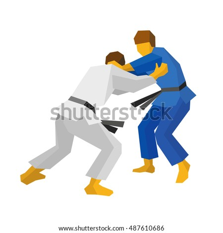 Two judo fighters in