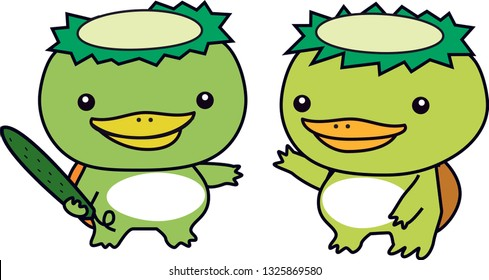 Two KAPPA(Japanese water imp) say hello each other. one KAPPA has a cucumber of favorite food.